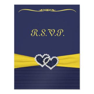 "Blue Pleats and Diamond Hearts RSVP Card 4.25"" X 5.5"" Invitation Card"