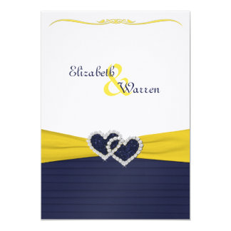 "Blue Pleats and Diamond Hearts Wedding Invitation 5"" X 7"" Invitation Card"