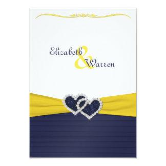 Blue Pleats and Diamond Hearts Wedding Invitation