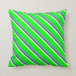 [ Thumbnail: Blue, Plum, Dark Green, White & Lime Pattern Throw Pillow ]