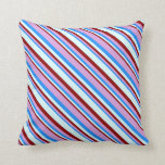 [ Thumbnail: Blue, Plum, Dark Red, and Light Cyan Colored Throw Pillow ]