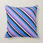 [ Thumbnail: Blue, Plum, Indigo, White, and Black Colored Throw Pillow ]