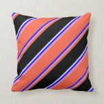 [ Thumbnail: Blue, Plum, Red, Black, and White Colored Stripes Throw Pillow ]