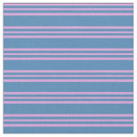 [ Thumbnail: Blue & Plum Striped/Lined Pattern Fabric ]