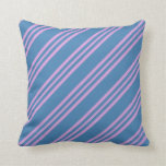 [ Thumbnail: Blue & Plum Striped/Lined Pattern Throw Pillow ]