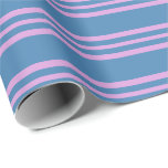 [ Thumbnail: Blue & Plum Striped/Lined Pattern Wrapping Paper ]