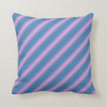 [ Thumbnail: Blue & Plum Stripes Throw Pillow ]