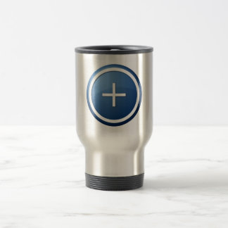 blue plus button 15 oz stainless steel travel mug