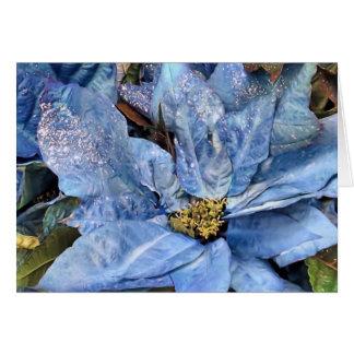 Blue Poinsettia Card