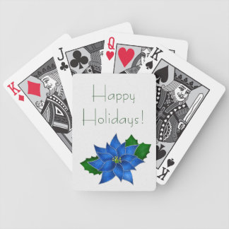 Blue Poinsettia Bicycle Playing Cards
