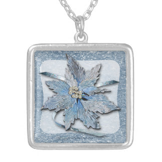 Blue Poinsettias on Silver Silver Plated Necklace