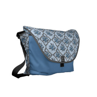 Blue Poinsettias Silver Messenger Bag