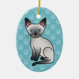 Blue Point Siamese Cat Cute Cartoon Illustration Ceramic Ornament