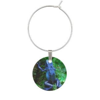 Blue Poison Arrow Frog Wine Glass Charm