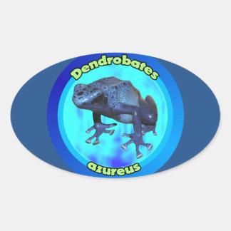 Blue poison dart frog. oval sticker