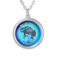Blue poison dart frog. silver plated necklace