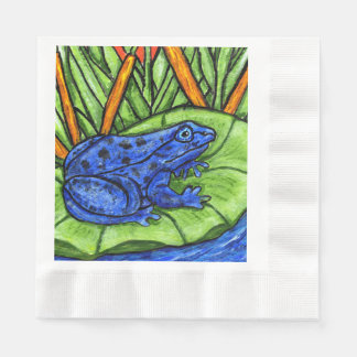 Blue Poison Vibrant Frog Coined Luncheon Napkin