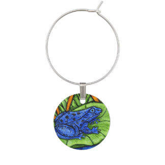 Blue Poison Vibrant Frog Wine Glass Charm