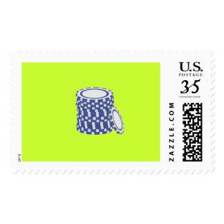 Blue poker chips postage