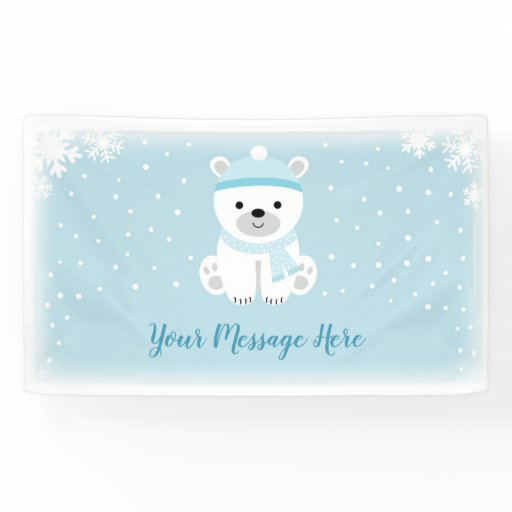 Blue Polar Bear Baby Shower Banner