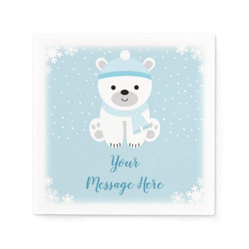 Blue Polar Bear Baby Shower Paper Napkin
