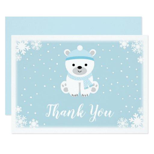 Blue Polar Bear Baby Shower Thank You Card