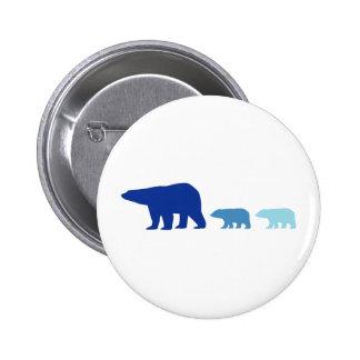 Blue Polar Bear Pinback Buttons