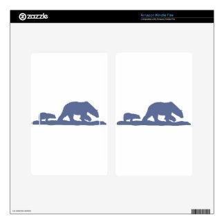 Blue Polar Bear Silhouette Kindle Fire Skins