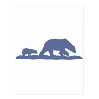 Blue Polar Bear Silhouette Postcard