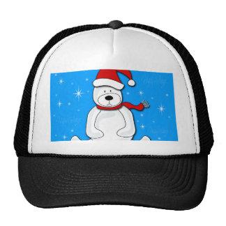 Blue polar bear trucker hat