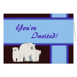 Blue Polar Bears Baby Shower Invitation