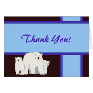 Blue Polar Bears Thank You Card