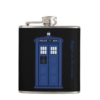 Blue Police Box Bigger on the Inside geek flask