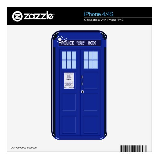 blue police box iphone 4/4s skin decal for the iPhone 4