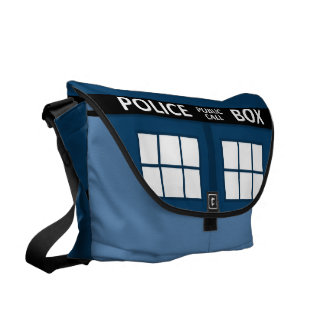Blue Police Box Large Messenger Bag
