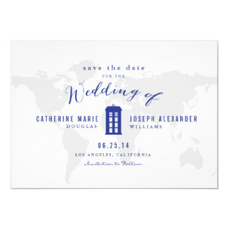Blue Police Box Save the Date 5x7 Paper Invitation Card