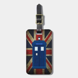 Blue Police Phone Box UK British Union Jack Flag Bag Tags