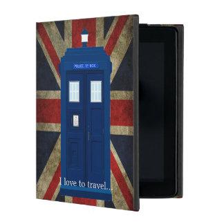 Blue Police Phone Box with Union Jack British Flag iPad Folio Case