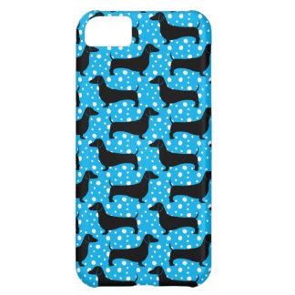 Blue Polka Dachshunds iPhone 5C Covers