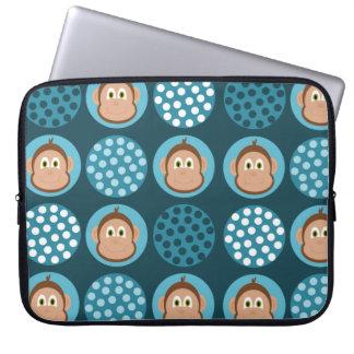 Blue Polka Dot and Monkey Design Computer Sleeve