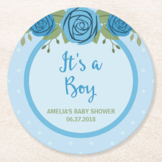 Blue Polka Dot and Roses It's a Boy Baby Shower Round Paper Coaster