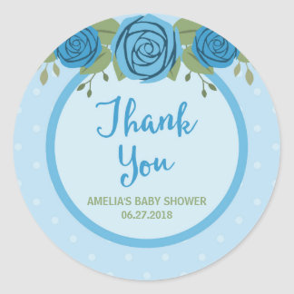 Blue Polka Dot and Roses Thank You Classic Round Sticker