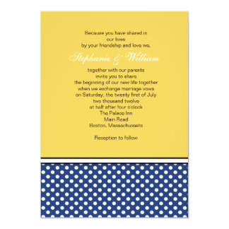 Blue Polka Dot and Yellow Wedding Invitation