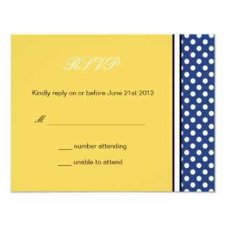 Blue Polka Dot and Yellow Wedding RSVP Card