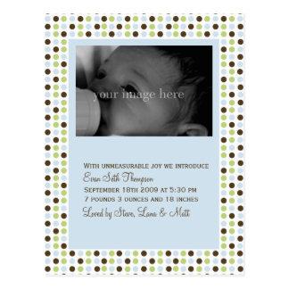 Blue Polka Dot Baby Announcement Post Card
