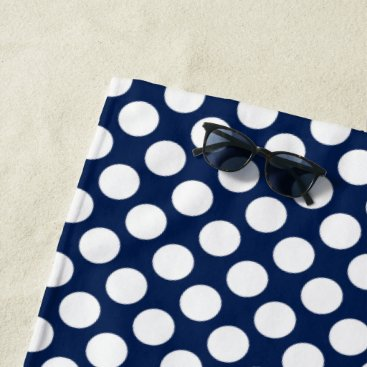 Beach Themed Blue Polka Dot Beach Towel