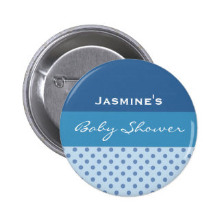 Blue Polka Dot Boy Baby Shower Custom Name Pinback Button