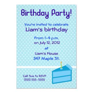 "Blue Polka Dot Cake Birthday Party Invitation 5"" X 7"" Invitation Card"