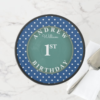Blue Polka Dot Cake Smash First Birthday Elegant Cake Stand