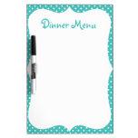 Blue Polka Dot Dinner Menu Dry-Erase Whiteboards
